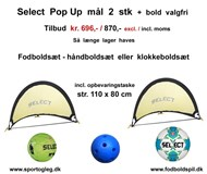 Select Pop Up mål og valgfri bold