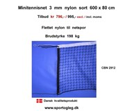 Minitennisnet 3 mm Nylon 600 x 80 cm